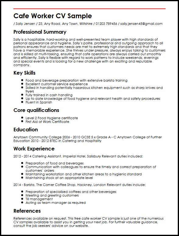 worker cv example myperfectcv resume about yourself examples sample administrative Resume Resume About Yourself Examples