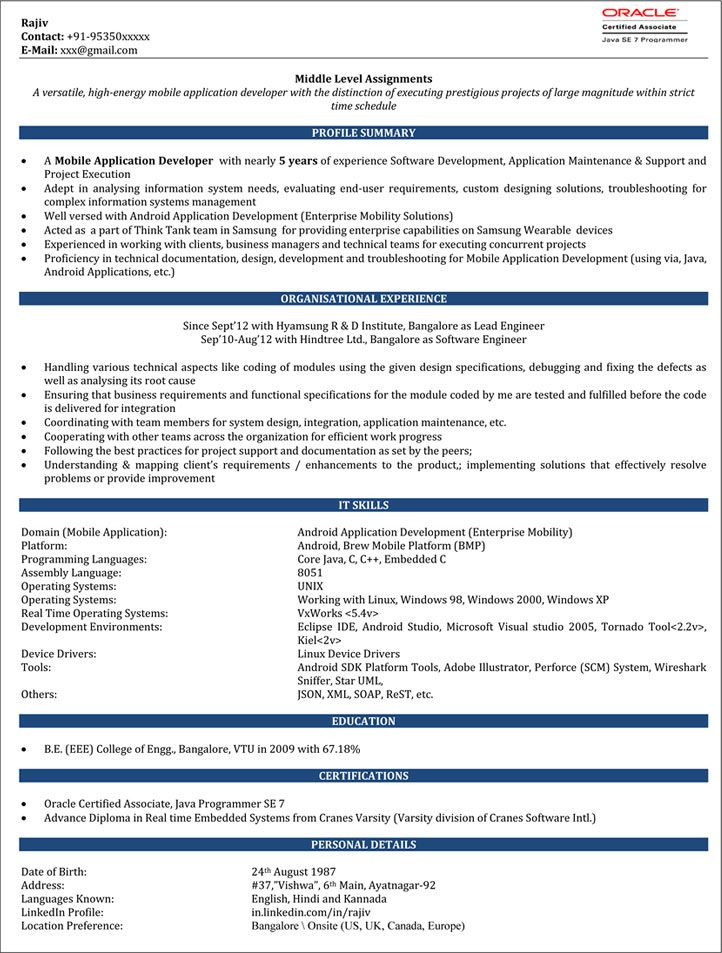 years experience resume format software job samples android for flight attendant Resume Android Resume For 2 Years Experience