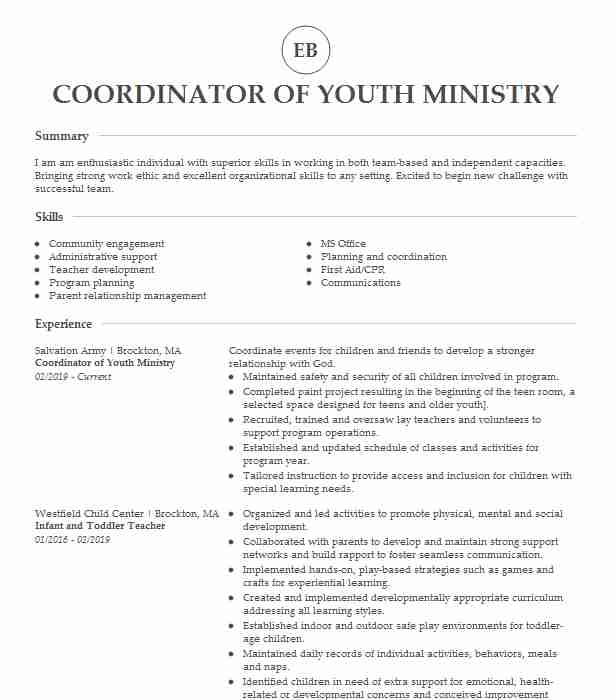 youth ministry coordinator resume example holy rosary and resurrection catholic church Resume Ministry Resume Builder