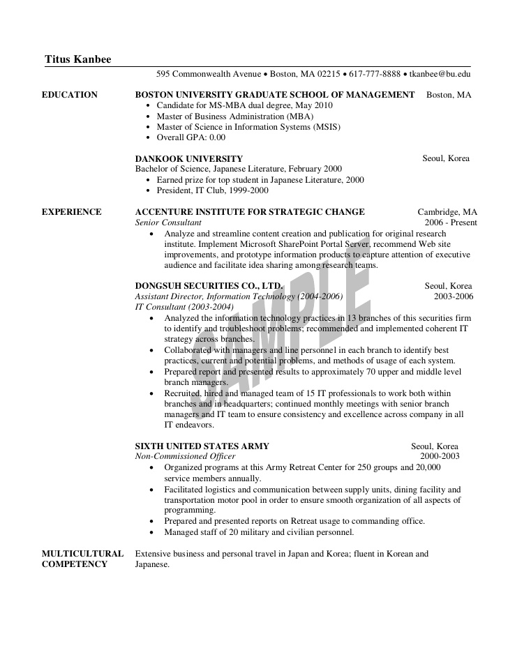 1st year mba resume sample student examples for zoology teacher objective template Resume Mba Student Resume Examples