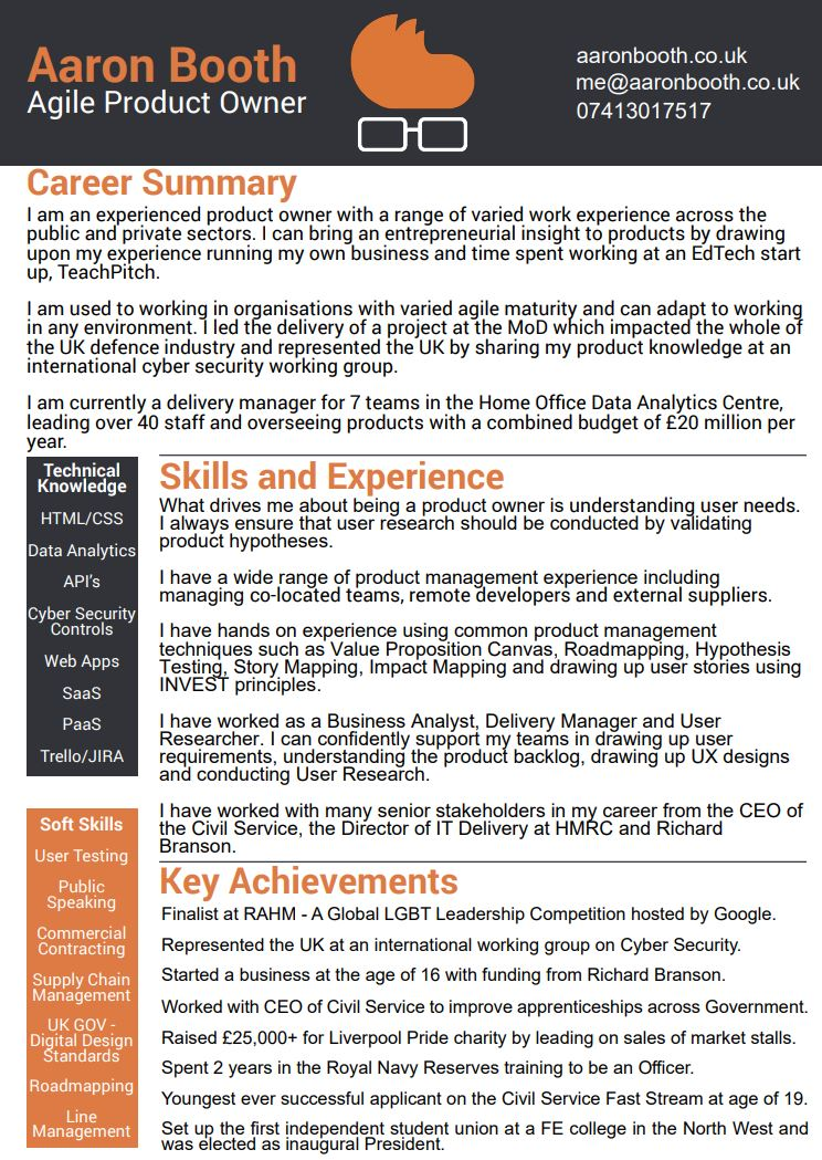 aaron booth cv agile product manager based in manchester resume latest image nerd Resume Agile Product Manager Resume