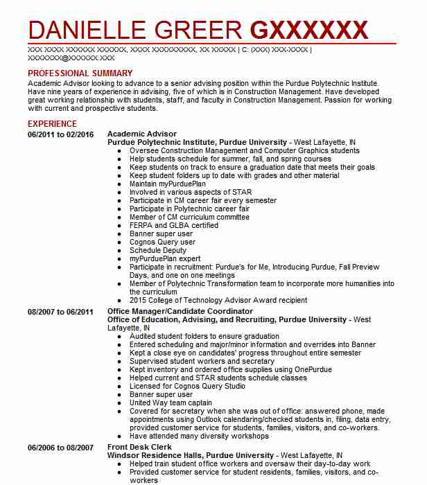 academic advisor resume example education resumes livecareer professional summary student Resume Professional Summary Resume Student