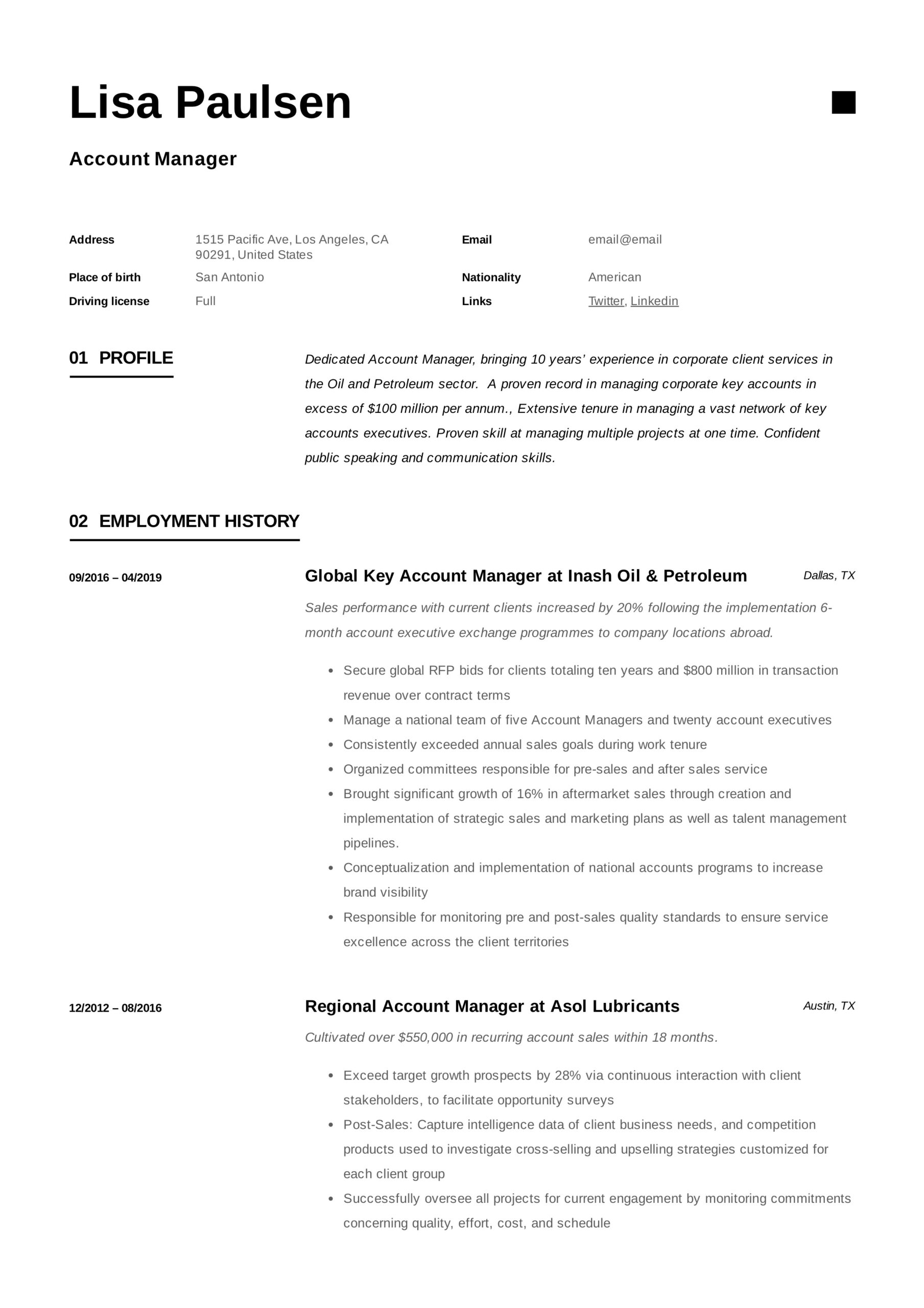 account manager resume writing guide examples best for lisa paulsen implement synonym job Resume Best Resume For Account Manager