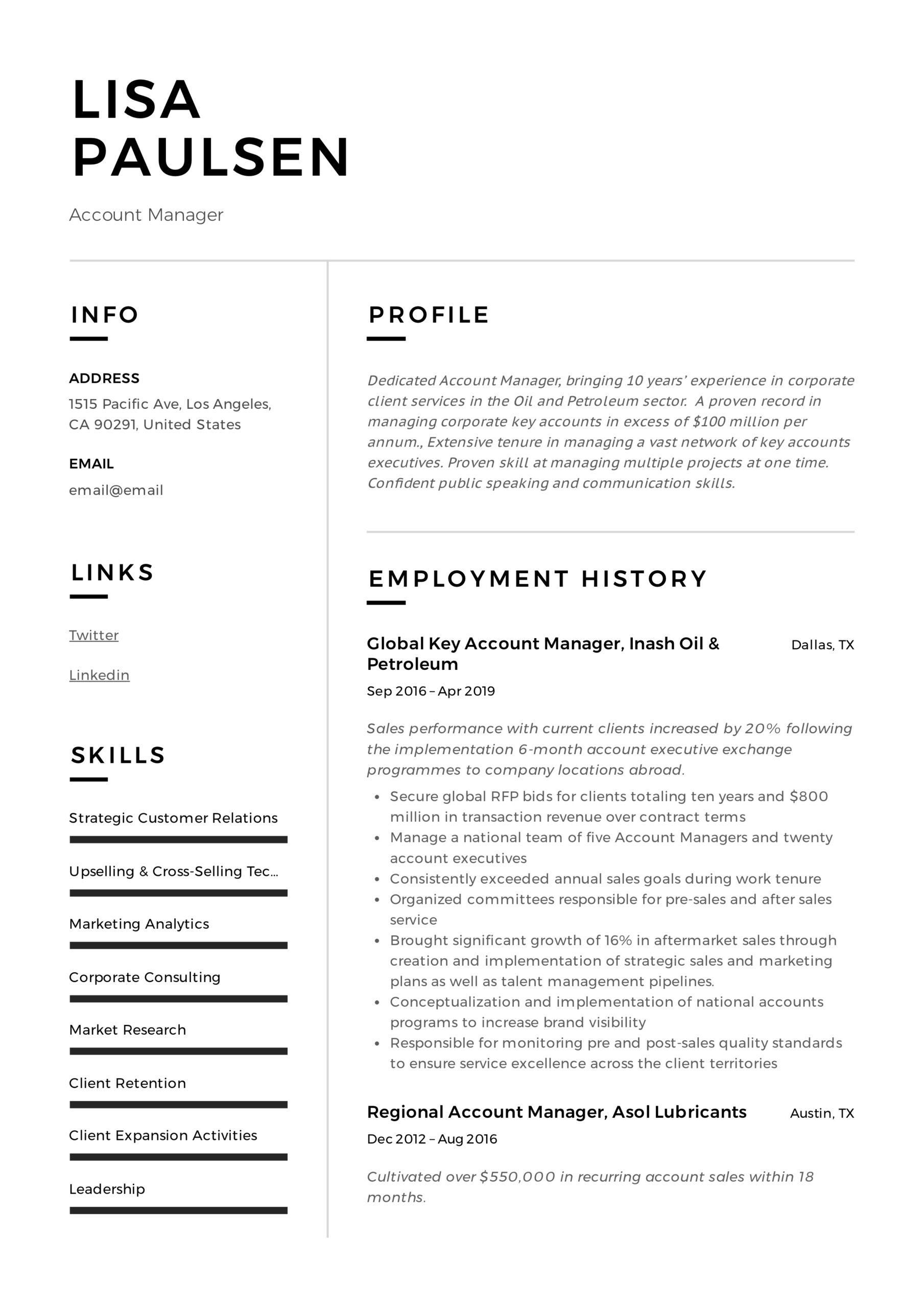 account manager resume writing guide examples best for lisa paulsen jobfox service short Resume Best Resume For Account Manager