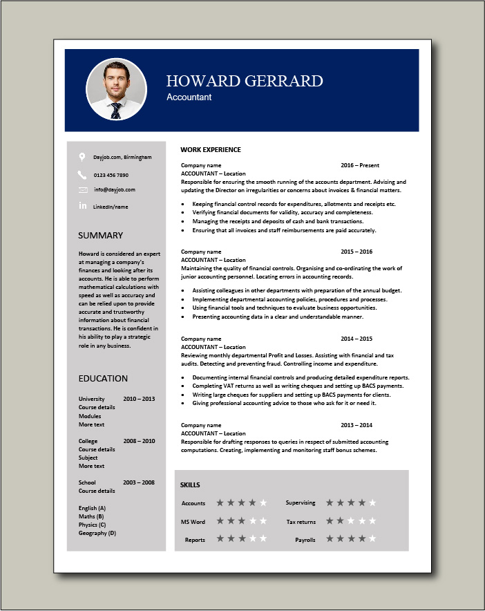 accountant resume example accounting job description template payroll career history for Resume Resume For Accountant Position
