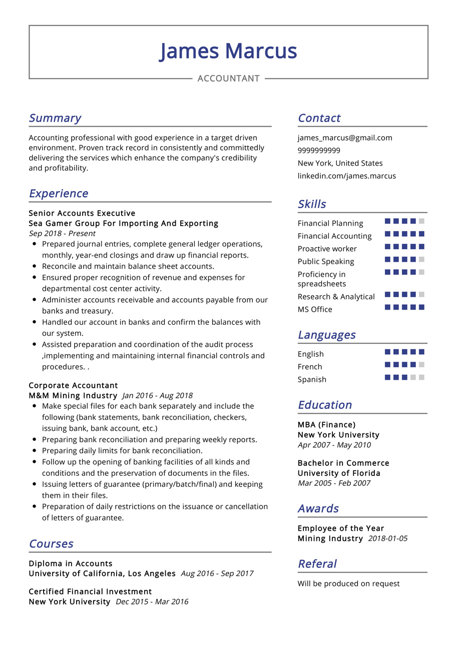 accountant resume example cv sample resumekraft latest format for mother entry level Resume Latest Resume Format For Accountant