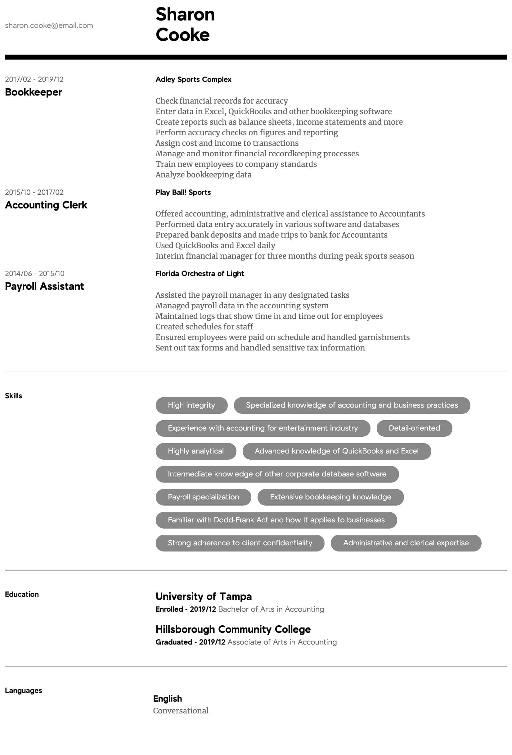 accountant resume samples all experience levels sample for accounting job intermediate Resume Sample Resume For Accounting Job