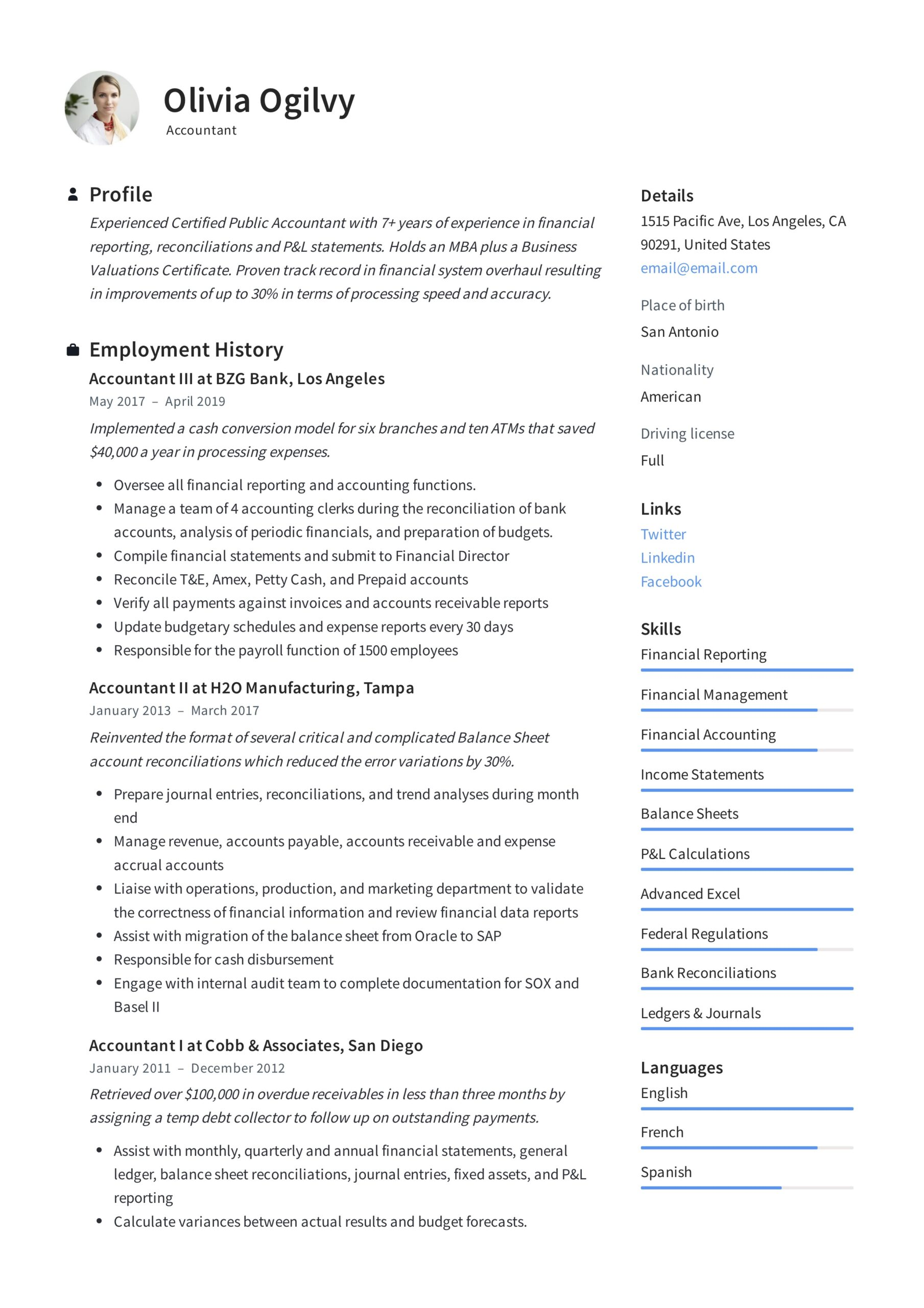 accountant resume writing guide templates pdf cost summary olivia ogilvy format for air Resume Cost Accountant Resume Summary