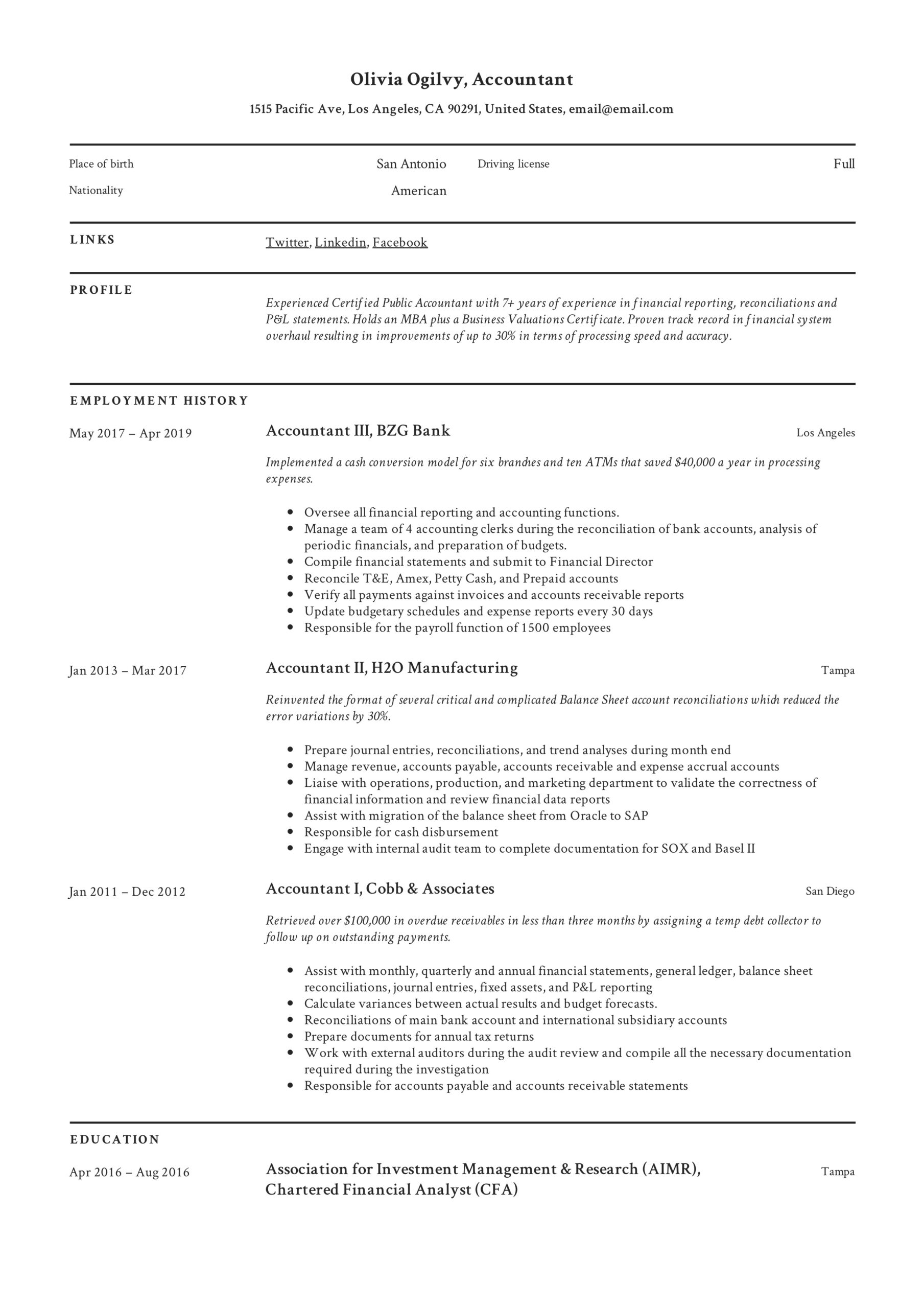 accountant resume writing guide templates pdf latest format for olivia ogilvy personal Resume Latest Resume Format For Accountant