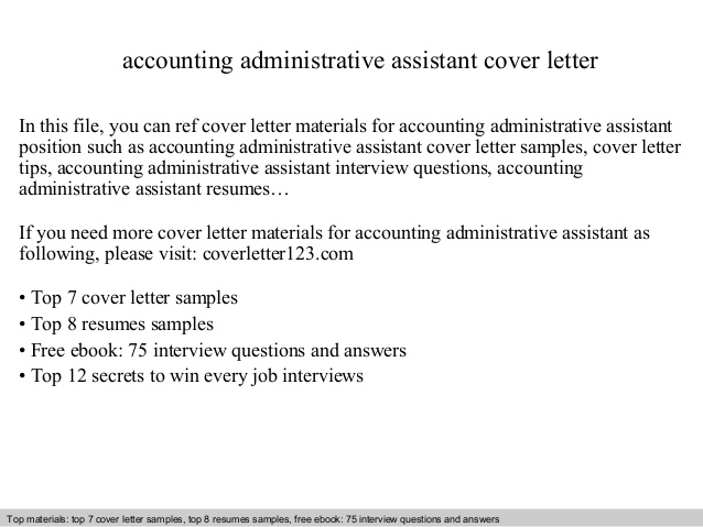 accounting administrative assistant cover letter resume commercial pilot sample fresher Resume Administrative Assistant Resume Cover Letter
