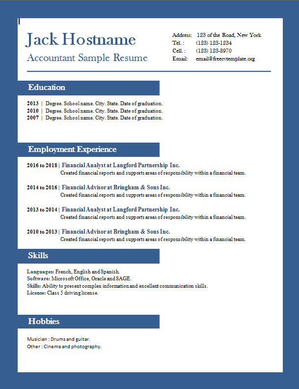 accounting get free cv latest resume format for accountant example template clean word Resume Latest Resume Format For Accountant