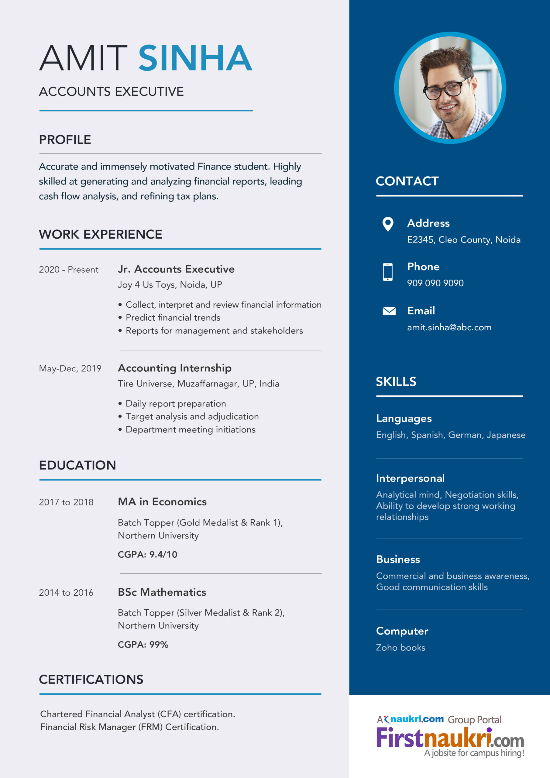 accounting resume sample career guidance for accountant position design example college Resume Resume For Accountant Position