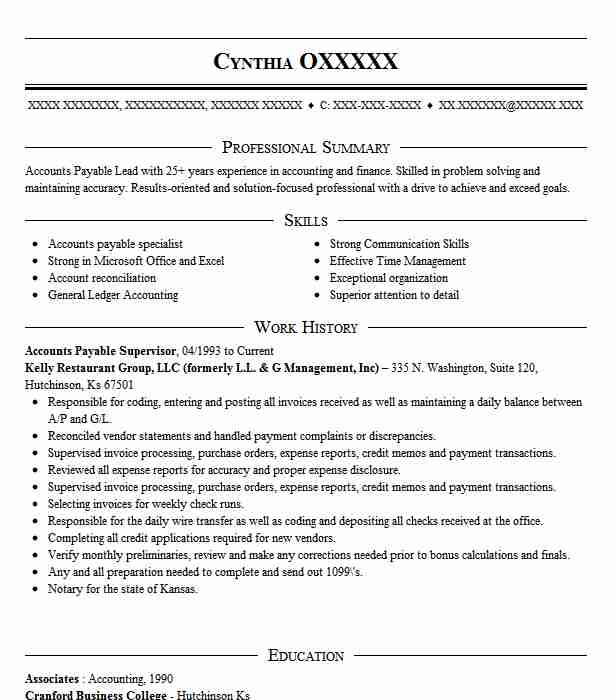 accounts payable supervisor resume example livecareer receivable usajobs federal personal Resume Accounts Receivable Supervisor Resume
