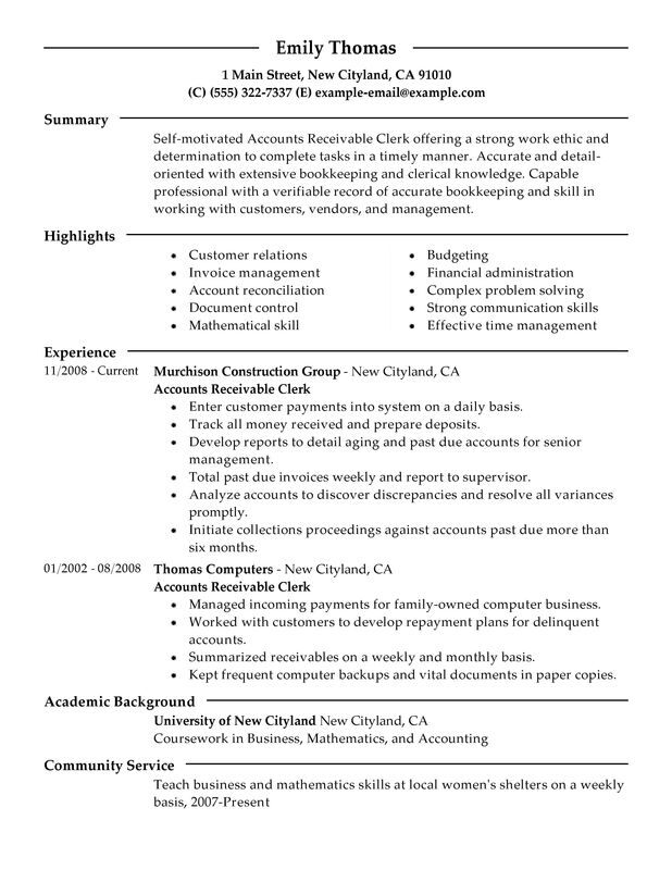 accounts receivable clerk resume examples free to try today myperfectresume clerical Resume Clerical Resume Examples