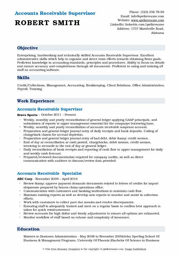 accounts receivable supervisor resume samples qwikresume pdf account manager objective Resume Accounts Receivable Supervisor Resume