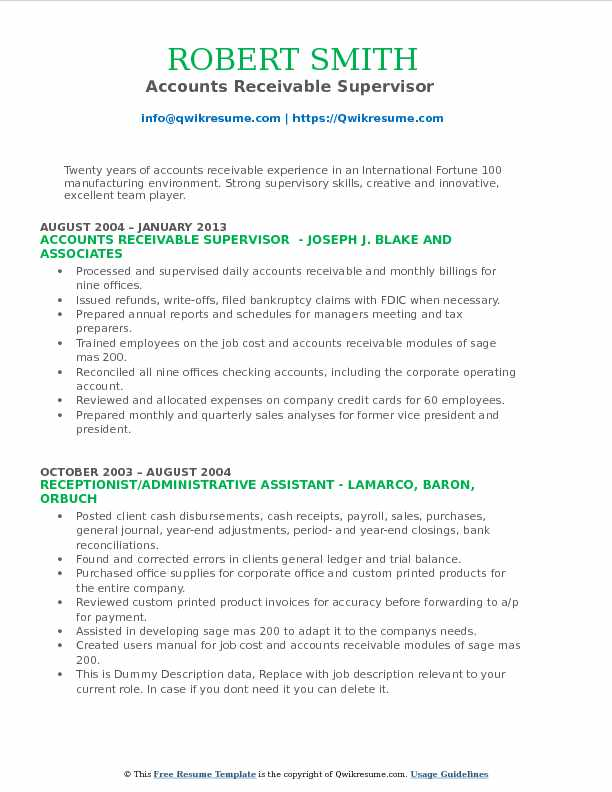 accounts receivable supervisor resume samples qwikresume pdf objective for healthcare Resume Accounts Receivable Supervisor Resume