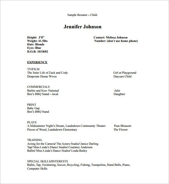 acting resume template free word excel pdf format premium templates for audition without Resume Resume For Acting Audition Without Experience