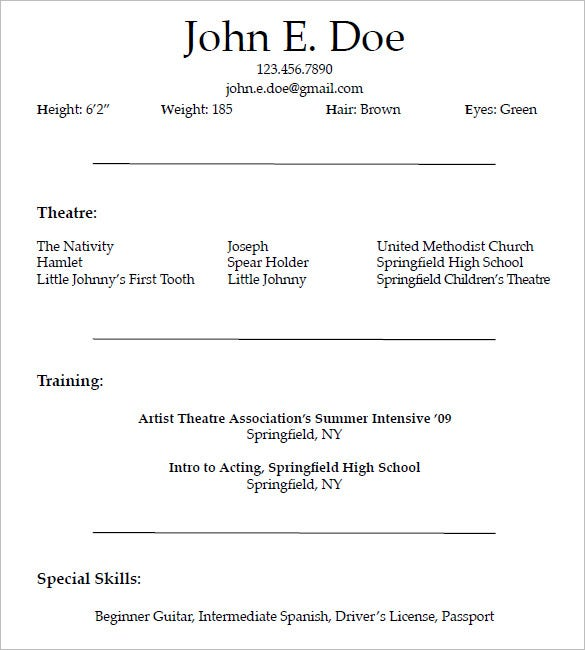 acting resume templates free samples examples formats premium actor model template for Resume Actor Model Resume Template