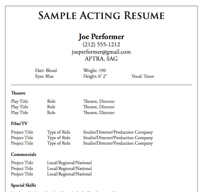 acting resume templates samples child actor template theatre savable shell groundskeeper Resume Child Actor Resume Template