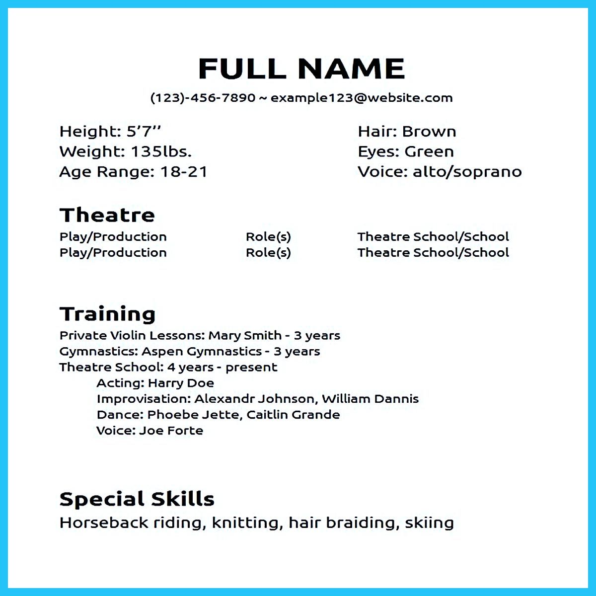 actor resume sample presents you make your professional or beginner the acting template Resume Resume For Acting Audition Without Experience