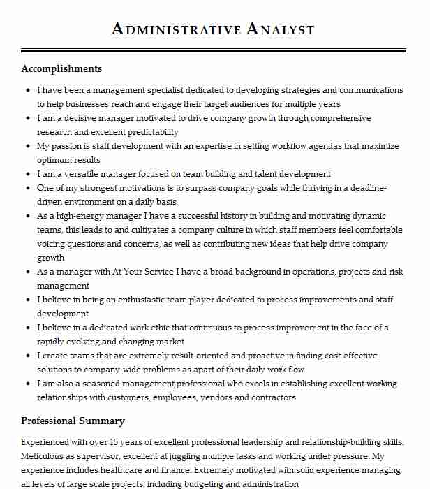 administrative analyst resume example resumes livecareer sample home depot firewall Resume Administrative Analyst Resume Sample