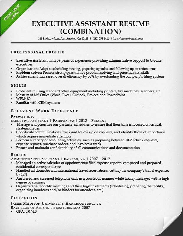 administrative assistant resume sample genius examples writing executive free technical Resume Executive Assistant Resume Examples Free