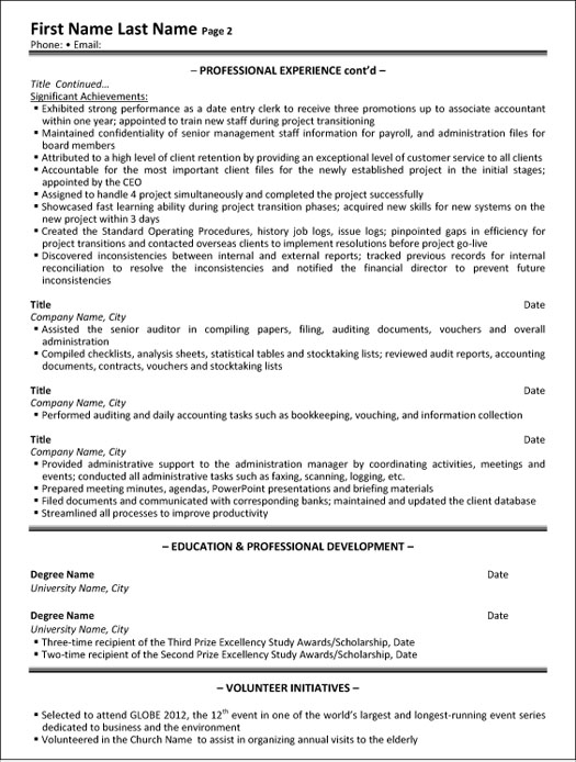 administrative assistant resume sample template format for officer executive p2 clerical Resume Resume Format For Administrative Officer