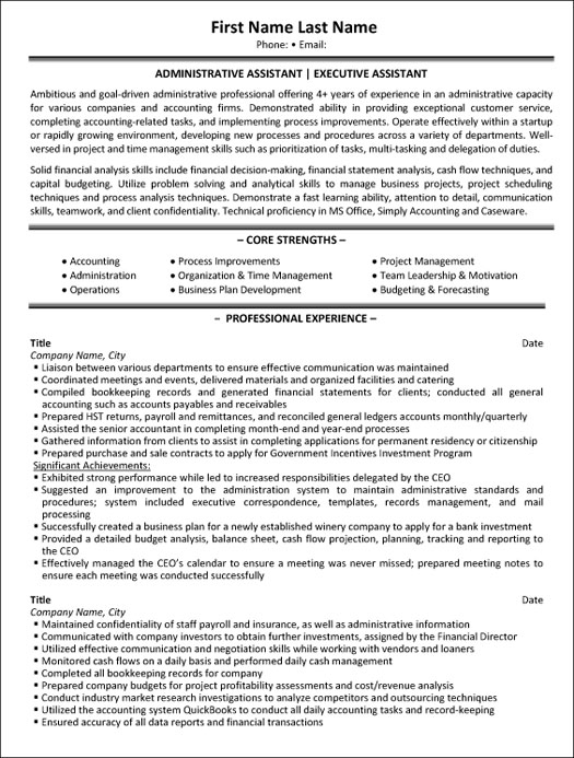 administrative assistant resume sample template job description executive hobbies for Resume Administrative Assistant Job Description Resume