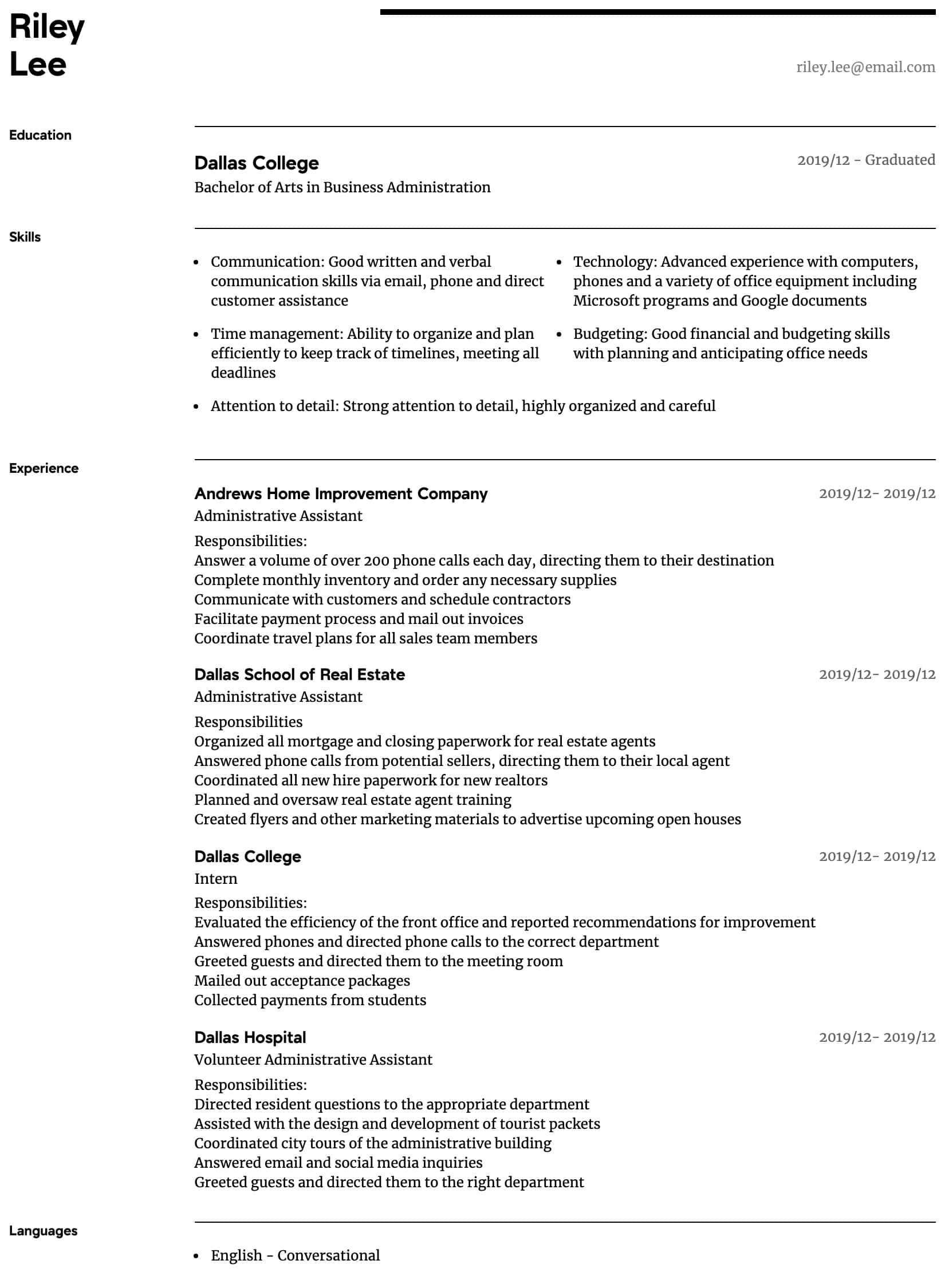 administrative assistant resume samples all experience levels admin sample intermediate Resume Admin Assistant Resume Sample