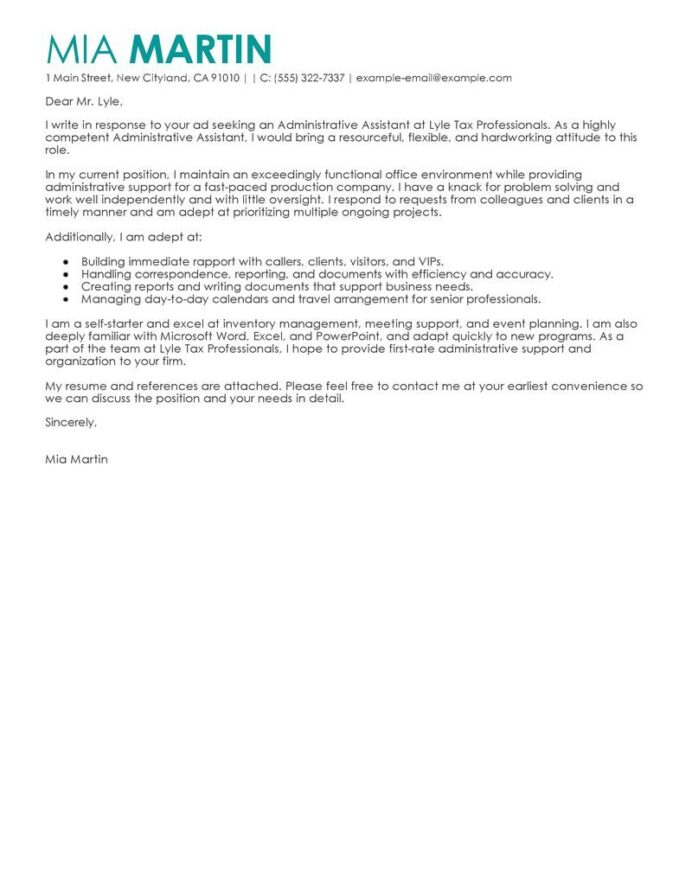 administrative assistants cover letter example with tips of resume for assistant Resume Example Of Resume Cover Letter For Administrative Assistant