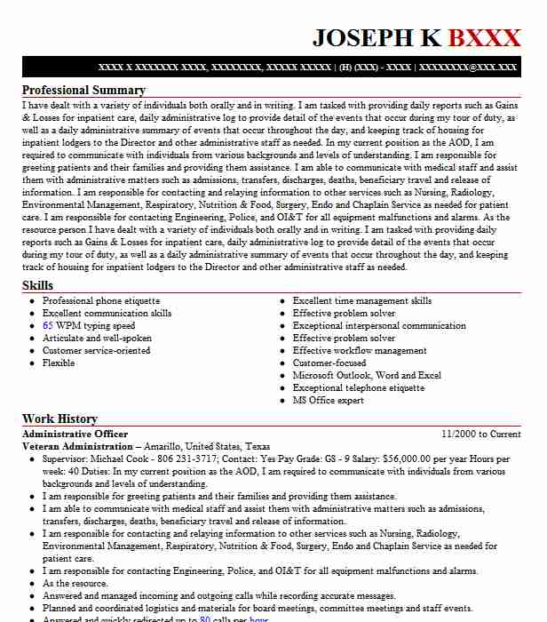 administrative officer resume example livecareer format for cosmetic chemist years Resume Resume Format For Administrative Officer