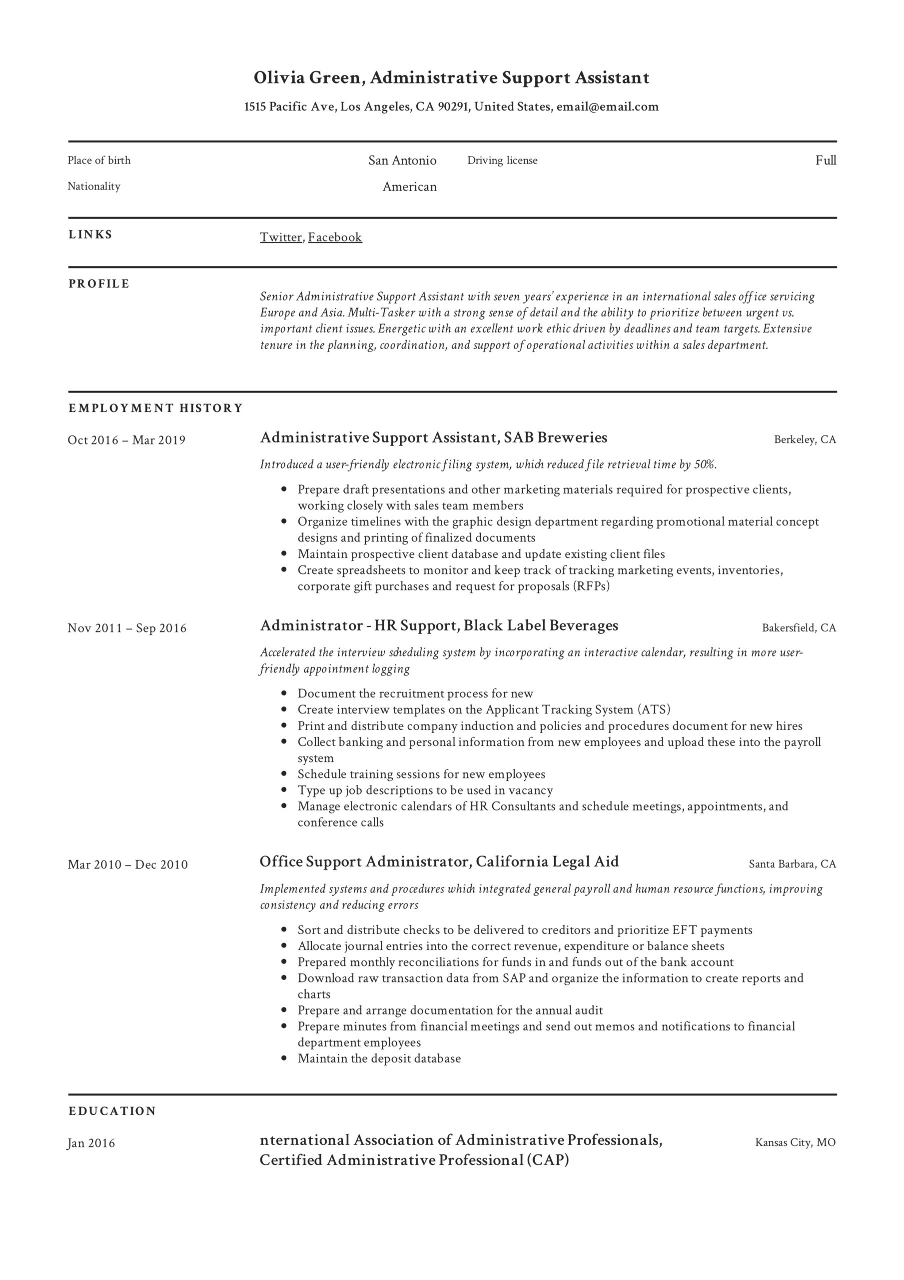 administrative support assistant resume guide pdf resumes accomplishments for olivia free Resume Administrative Assistant Accomplishments For Resume