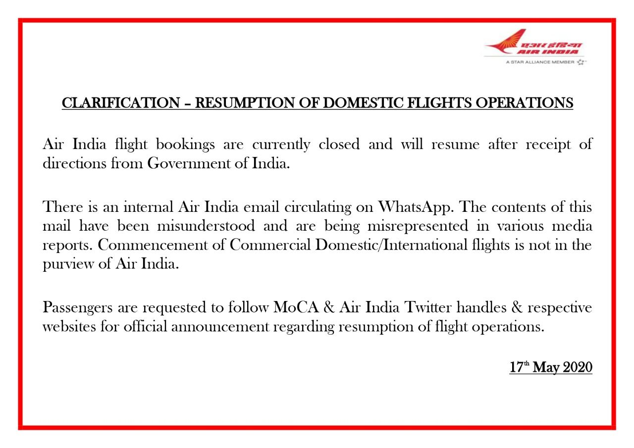 air unlikely to resume domestic flights from may as nationwide lockdown ends flight Resume Flight Operations Resume
