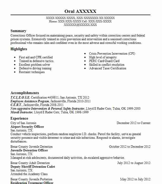airport security officer resume example resumes livecareer position classic template Resume Security Position Resume