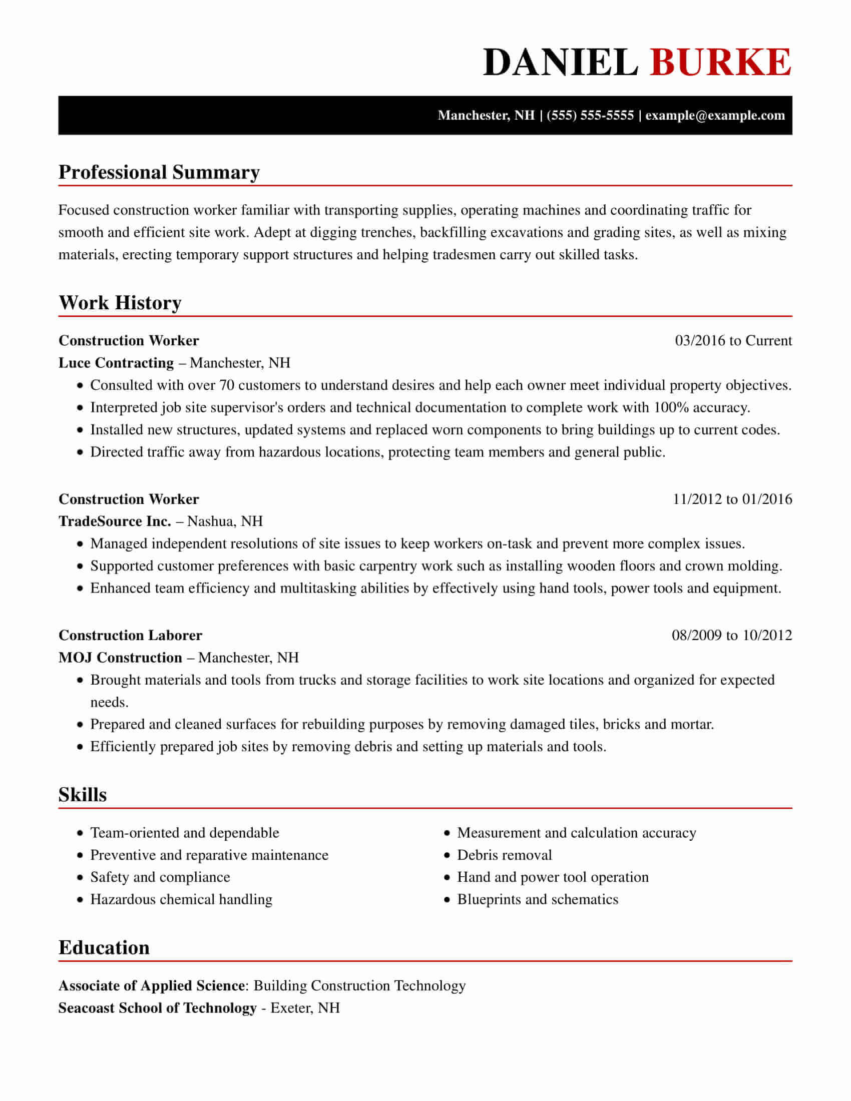 amazing construction resume examples livecareer format for job artistic chrono worker Resume Resume Format For Construction Job