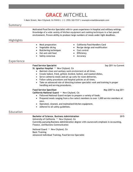 amazing customer service resume examples livecareer food template specialist example Resume Food Service Resume Template