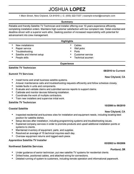 amazing customer service resume examples livecareer professional satellite tv technician Resume Professional Customer Service Resume