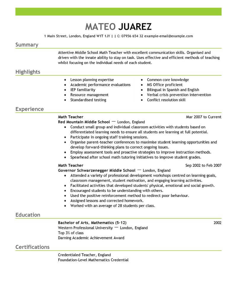 amazing education resume examples livecareer format for teacher emphasis panel board Resume Resume Format For Teacher