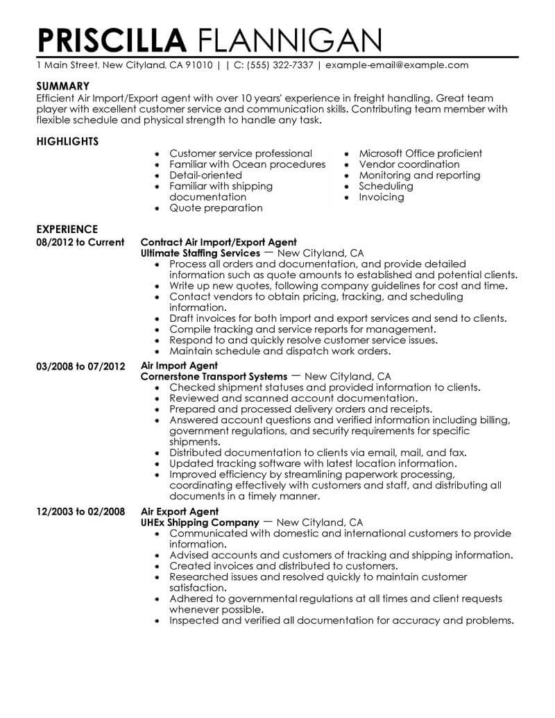 amazing government military resume examples livecareer service on air import export agent Resume Military Service On Resume