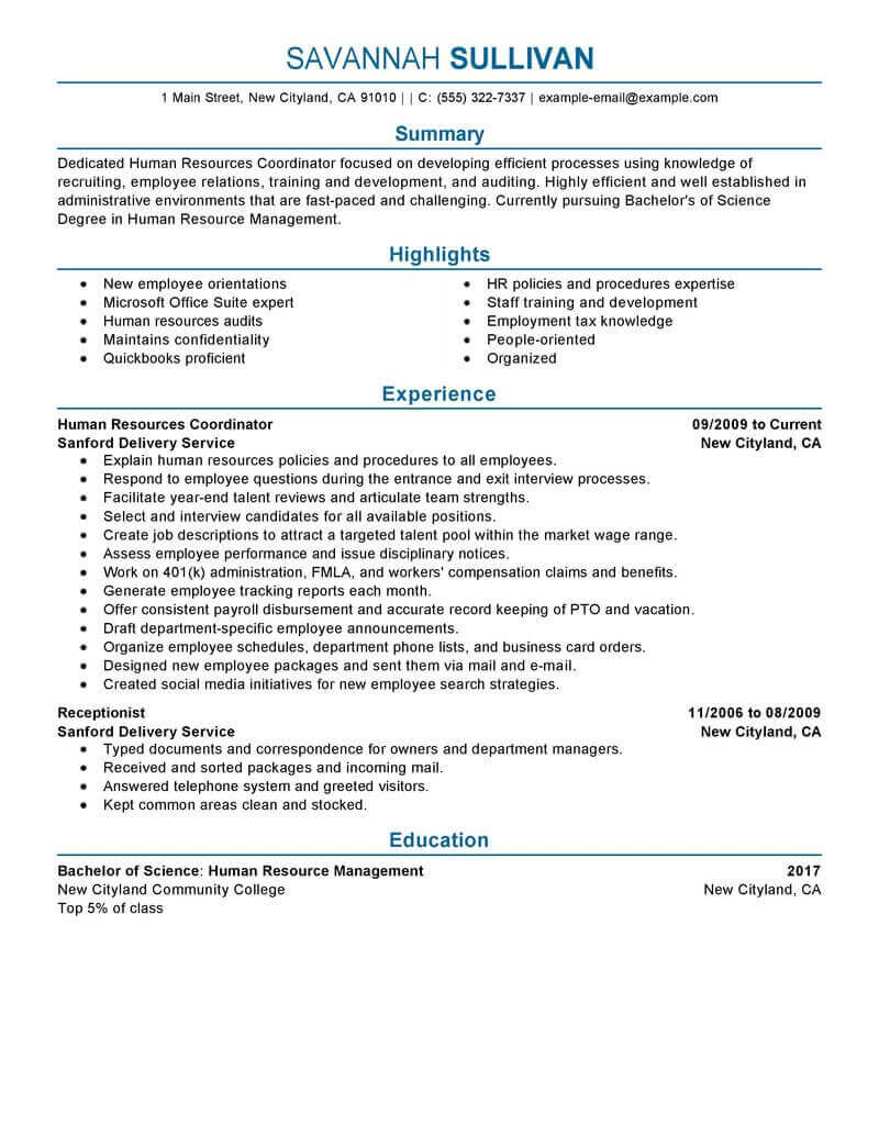 amazing human resources resume examples livecareer template hr coordinator professional Resume Human Resources Resume Template