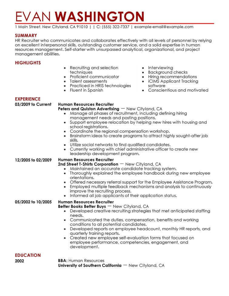 amazing human resources resume examples livecareer template recruiting and employment Resume Human Resources Resume Template