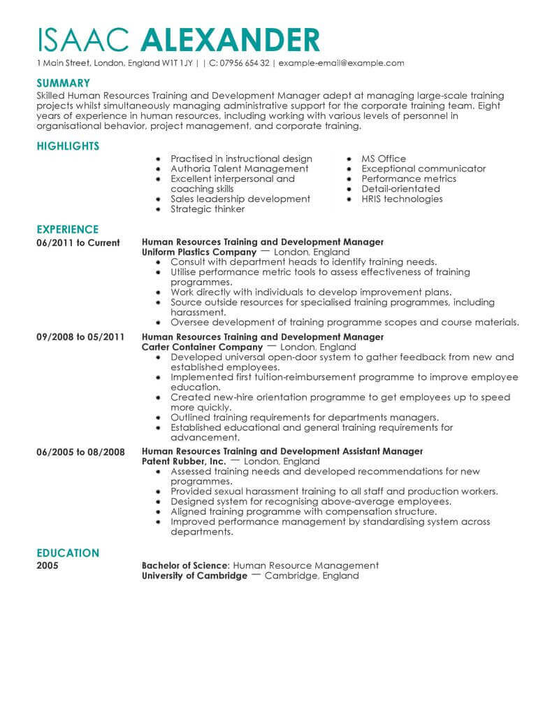 amazing human resources resume examples livecareer template training and development Resume Human Resources Resume Template