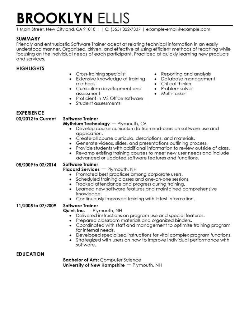 amazing it resume examples livecareer professional samples software training contemporary Resume It Professional Resume Samples