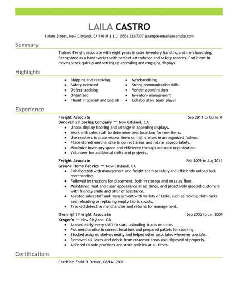 amazing resume examples livecareer best templates freight associate example emphasis Resume Best Sales Resume Templates
