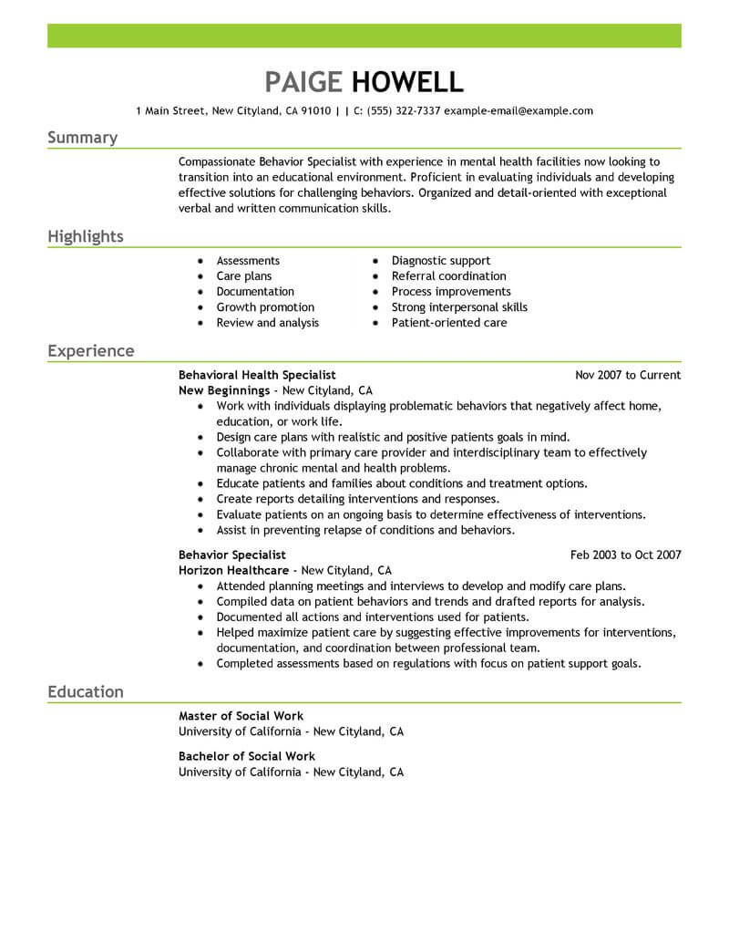 amazing social services resume examples livecareer master of work behavior specialist Resume Master Of Social Work Resume Examples