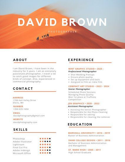 and black colorful photography resume photographer infographic professional fast easy Resume Professional Photography Resume