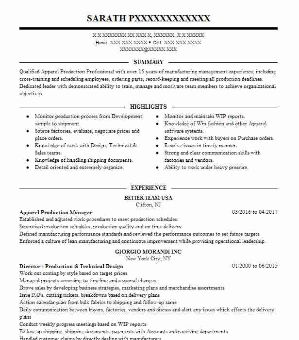 apparel production manager resume example livecareer product developer social media Resume Apparel Product Developer Resume