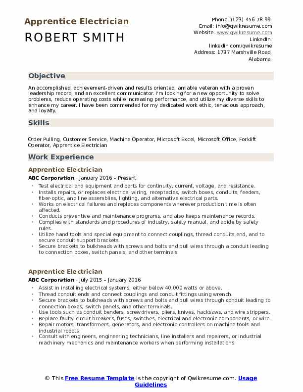 apprentice electrician resume samples qwikresume sample pdf profile highlights cover for Resume Apprentice Electrician Resume Sample