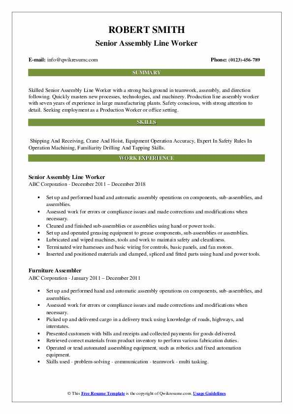 assembly line worker resume samples qwikresume pdf best examples for students science Resume Assembly Line Worker Resume