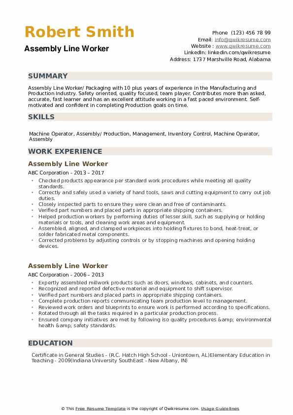 assembly line worker resume samples qwikresume pdf investment banking writing services Resume Assembly Line Worker Resume